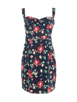 Kelly Brook Navy Floral Print Sweetheart Dress