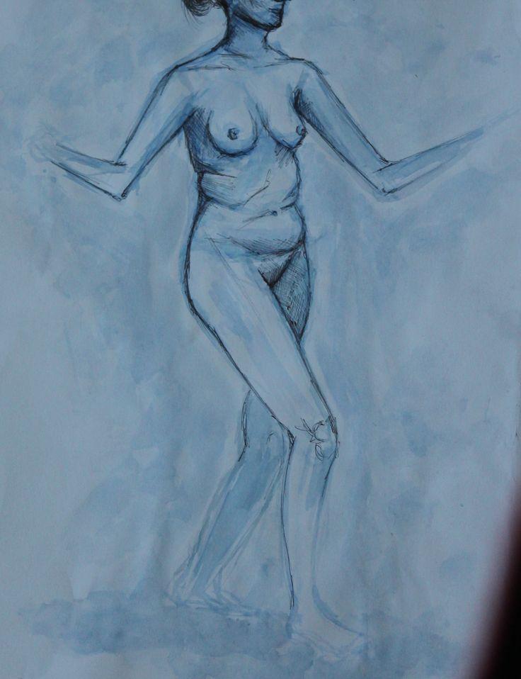 watercolour and biro life drawing