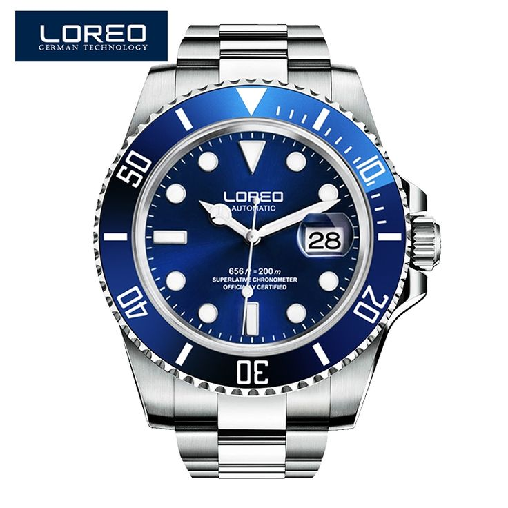 79.00$  Watch more here  - LOREO Germany watches men luxury brand automatic self-wind luminous waterproof 200M oyster perpetual Pro Diver Stainless Steel