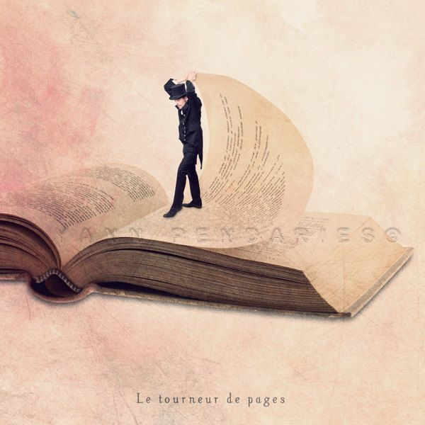 Le tourneur de pages.  Steampunk decor - Small Trades self-portrait - The page turner - photography book - Signed Numbered Fine Art Photography Print 6x6 (15x15cm). €11,00, via Etsy.