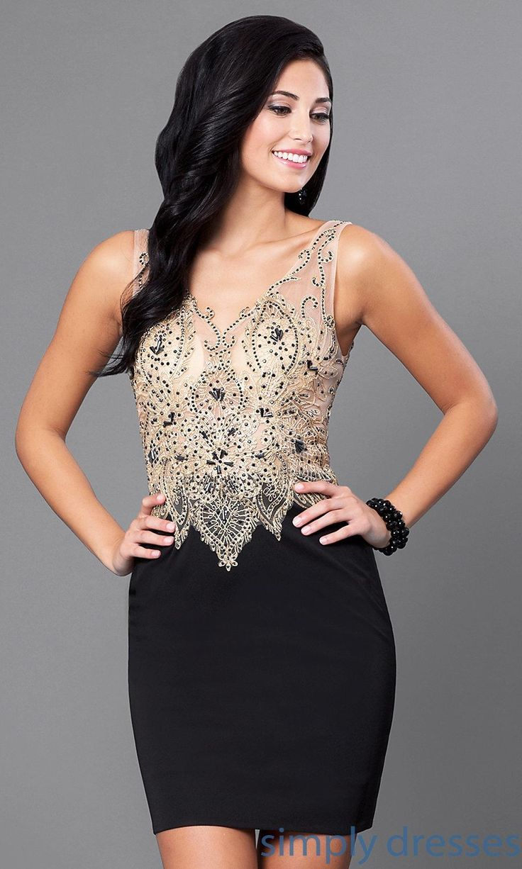 V-Neck Illusion Bodice Short Dress - Brought to you by Avarsha.com
