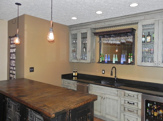 Basement Bar Has Wine Cooler, Granite Counters, And Distressed White  Cabinets
