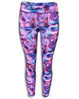 Amazon.com: Shensee de cintura alta aptitud Sport pantalones de yoga imprimen las polainas del estiramiento (XL, púrpura): Ropa