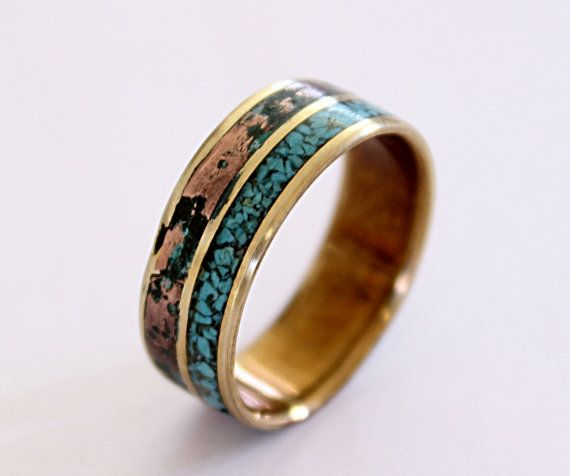 Brass ring with patina copper and turquoise inlay by ringordering