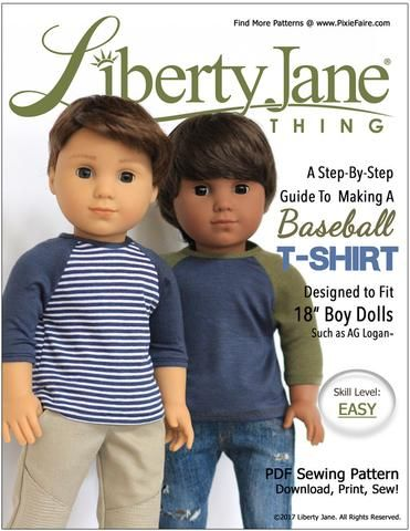 Liberty Jane Boy Doll Baseball T-Shirt Doll Clothes Pattern 18 inch American Girl Dolls | Pixie Faire