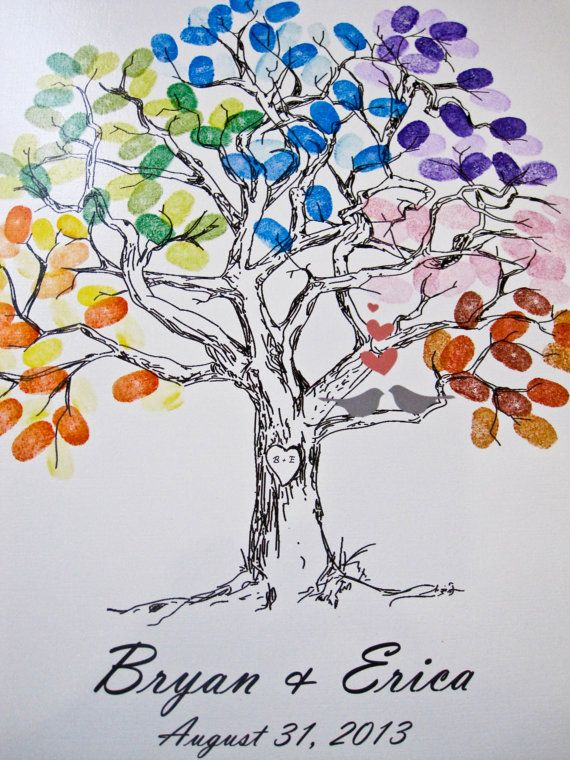 ThumbPrint Fingerprint  Signature Wedding Tree Guest Book Alternative / Gift /  Love Birds 100-250 Signatures on Etsy, $46.00