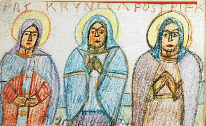 Nikifor KRYNICKI (1895 - 1968)  Trzy święte kredki, papier; 9,4 x 14,5 cm;
