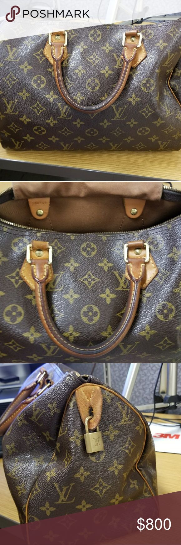 Louis Vuitton speedy bag 35 Bag in good shape minimal wear and tare owned and kept in smoke free envirnoment bag in decent useable condition owned for 4 years bought froom bloomingdales nyc Original box. Louis Vuitton Bags Totes