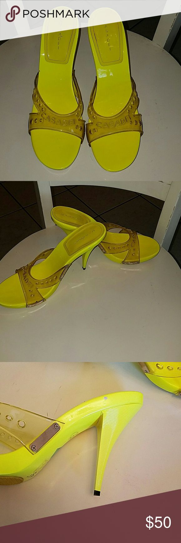 Casadei neon yellow pumps One small nick on inside of heel.  Fun and sexy shoe! No other damage Casadei Shoes Heels