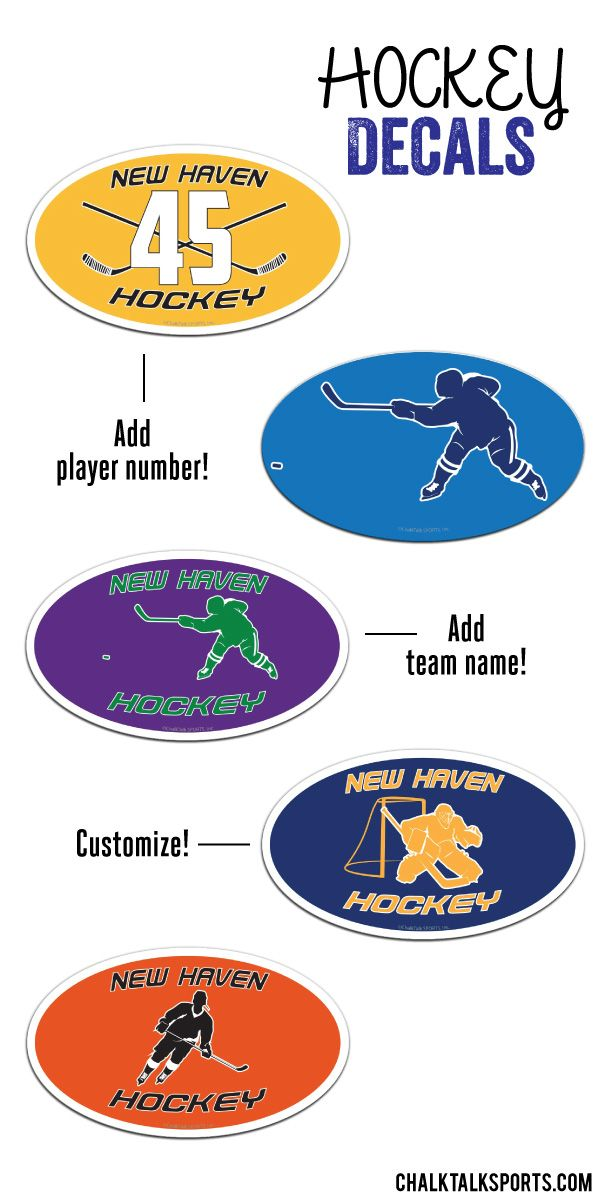 Show your love for hockey wherever you may go!  These personalized hockey decals are perfect for any hockey fan or hockey player!  Customize these car magnets with player number and team name to give as a special hockey gift!  Only from ChalkTalkSPORTS.com!
