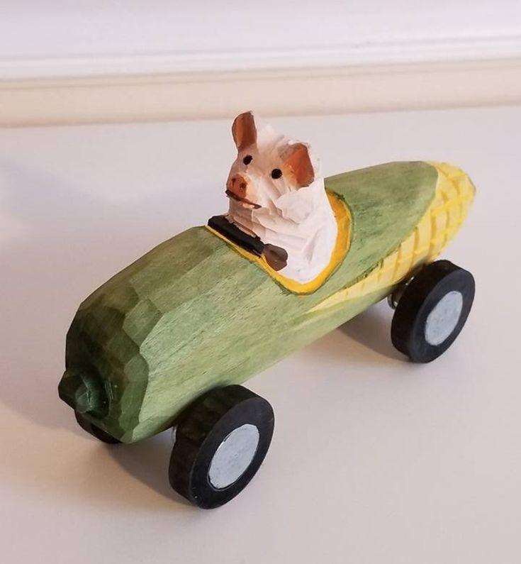 "Vintage Wooden Push Toy, Corn Cob Car, Pig Toy, Wood Carved Toy Car, Corn Cob Rider, Wood Box Car, Wood Push Car 6"" Long http://etsy.me/2Fk5RtG    #vintagewoodtoy #nurserydisplay #nurserydecor #junkyardblonde #gotvintage #woodcarvedtoycar #woodboxcar #woodpushca"