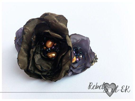 pearls flower hair accessories floral hair barrette by RebelSoulEK
