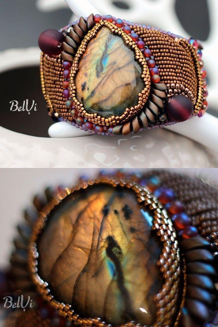 Labradorite bead embroidery bracelet | Purple and bronze beadwork bracelet | Seed bead cuff bracelet
