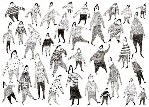 Beautiful people / Group of people / Crowed / Pen drawing by Tosya