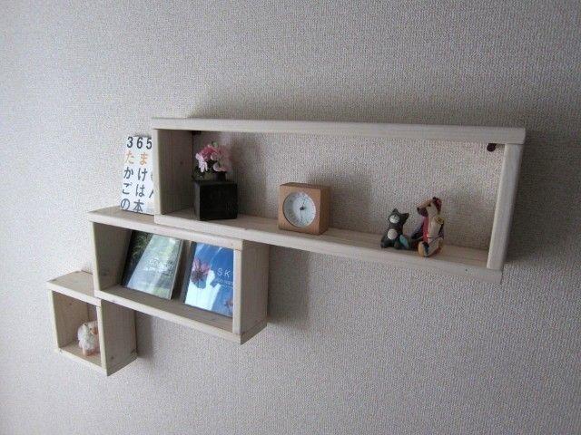 木の壁掛け棚(大1個中1個小1個)セット(ホワイト)の画像4枚目