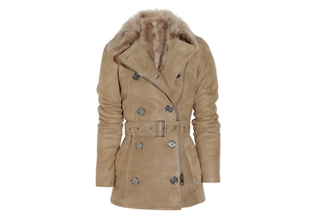 Burberry Brit Double-breasted Shearling Coat