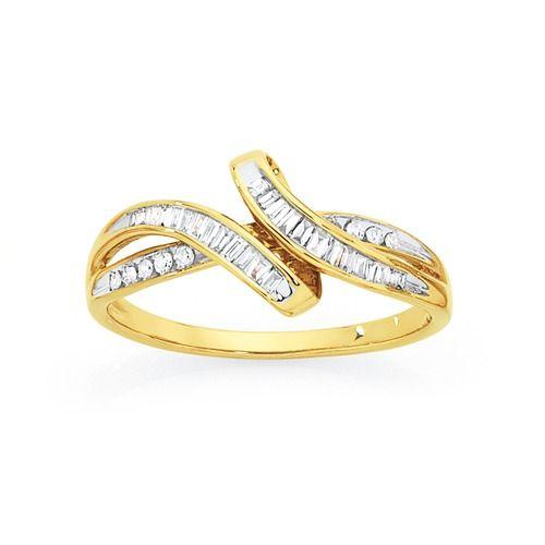9ct Gold Diamond Twist Dress Ring Total Diamond Weight = 0.25ct