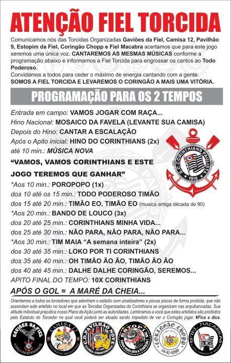 Comunicado Corinthians x Vasco - 23/5/2012 - Quartas-de-final Libertadores
