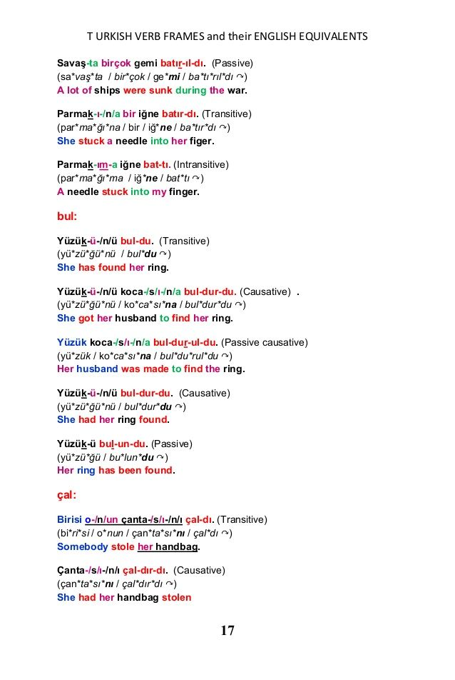 A list of turkish verb frames