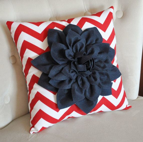 this would be good for the 4th of July: Red And White, Zigzag Pillow, 4Th Of July, Pillow Chevron, Red White, White Zigzag, Navy Blue, Chevron Pillow