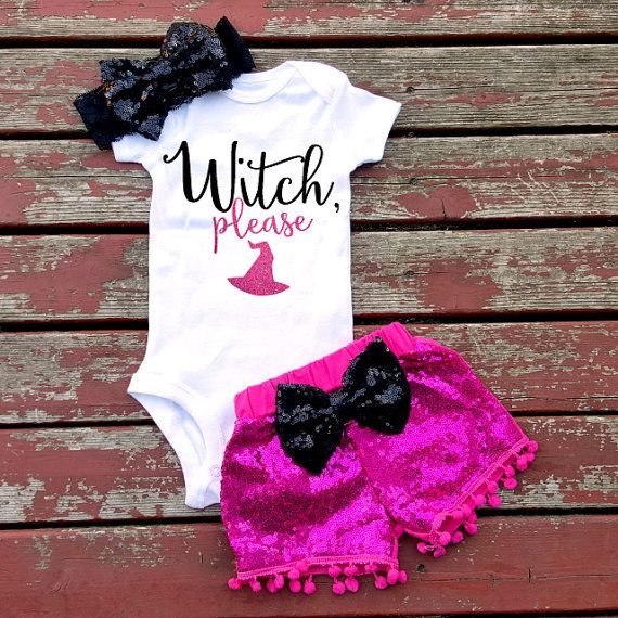 Witch Please Halloween Bodysuit Baby Girl by GLITTERandGLAMshop