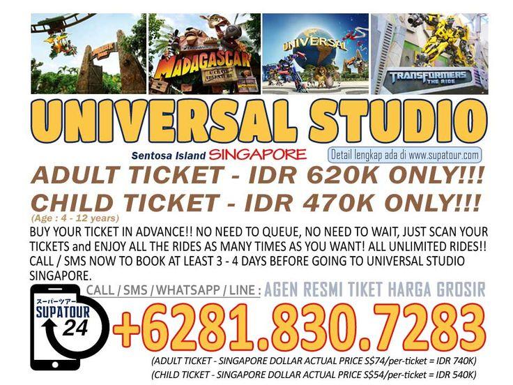 Singapore Admission Ticket Sentosa Universal Studio Singapore - USS  Adult: Rp. 620.000*  Child: Rp. 470.000*    For more Info: Supatour and Travel  WhatsApp : +62818307283 http://supatour.com