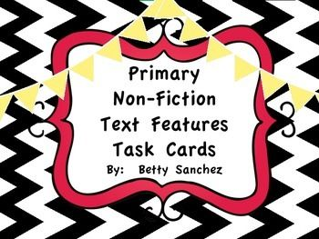 This non-fiction text features task cards FREEBIE packet is a great way to reinforce a Non-Fiction Text Feature unit in the primary grades.  They can also be used as remediation in the intermediate grades.  The pack includes:  ~9 task cards that focus on identifying text feature names ~Recording Sheet   As a token of my appreciation for reaching 1,000 awesome votes, I have created this FREEBIE!