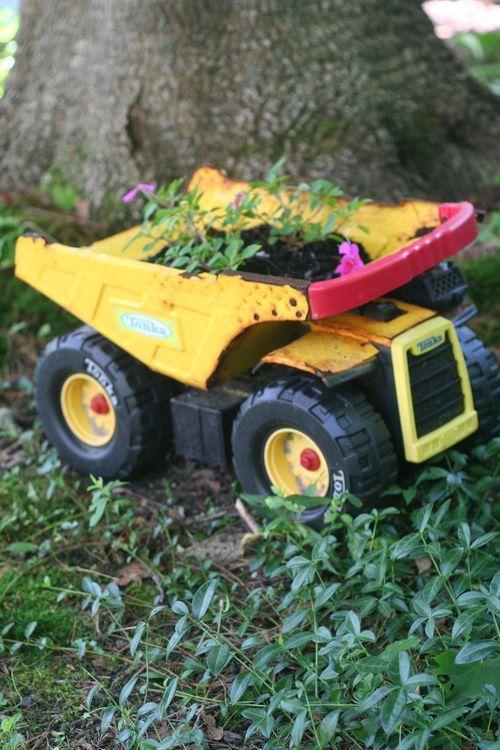 Tonka Toy Truck - into planter: Container Gardens, Garden Ideas, Gardening Ideas, Reuse Toys, Toy Trucks, Garden, Flower