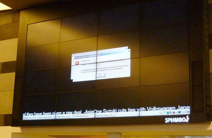 A Runtime error on a 16 screen video wall. Not a good look. SPHMBO Singapore