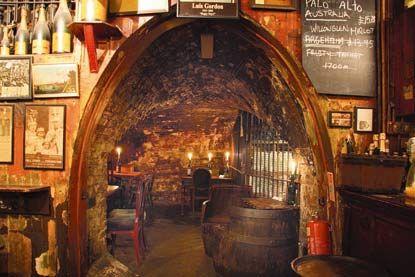 Gordon's Wine Bar - London.  The oldest wine bar in the city.