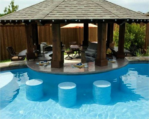 A pool with a swim-up bar...yes please! | Small backyard ...