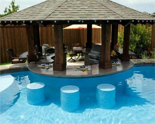 A pool with a swim