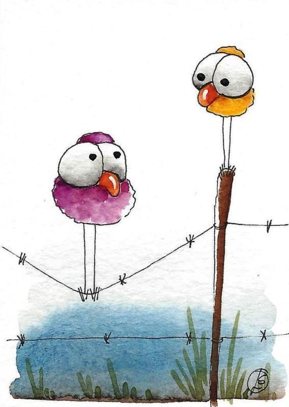 ACEO Original watercolor art painting whimsical bird wire fence don't say a word #IllustrationArt