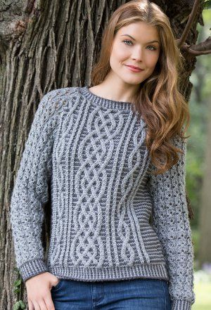 Fashionable yet classic, the Timeless Cabled Sweater is a knit sweater pattern you'll cherish for years to come. Interlocking cables stand out in two shades of gray for a stylish look you'll reach come autumn.