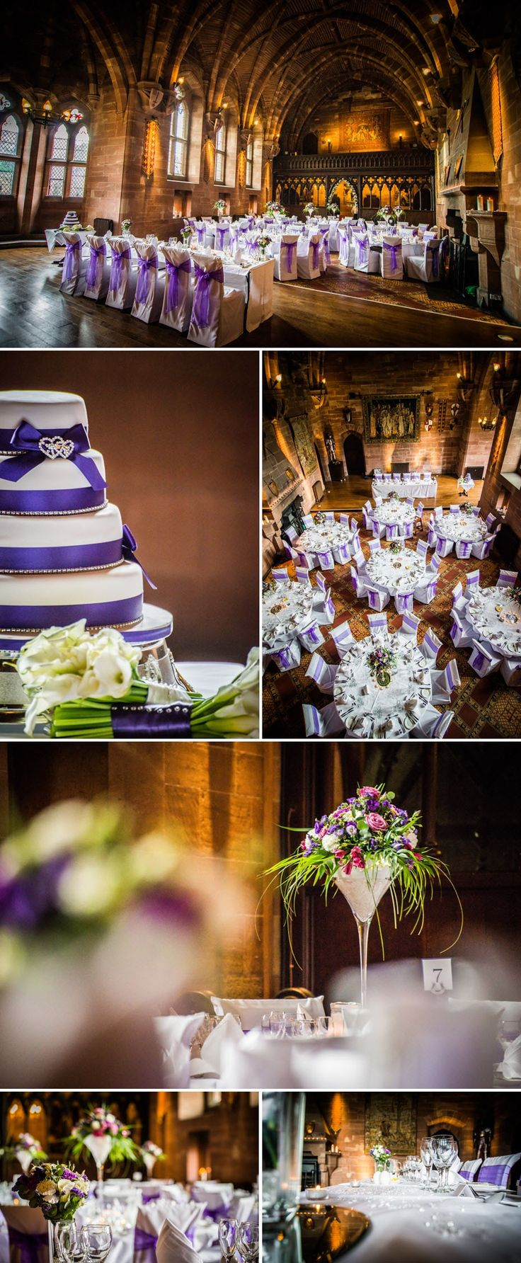 wedding venues in londonderry%0A Peckforton Castle  Cheshire Wedding Venue  purple chaire ties  venue  dressing  flowers
