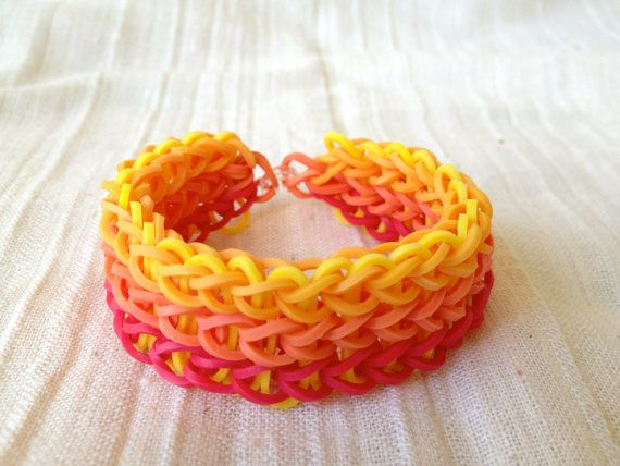 Rainbow Loom bracelet made from rubber bands by ArtyCraftyStudio, $6.99
