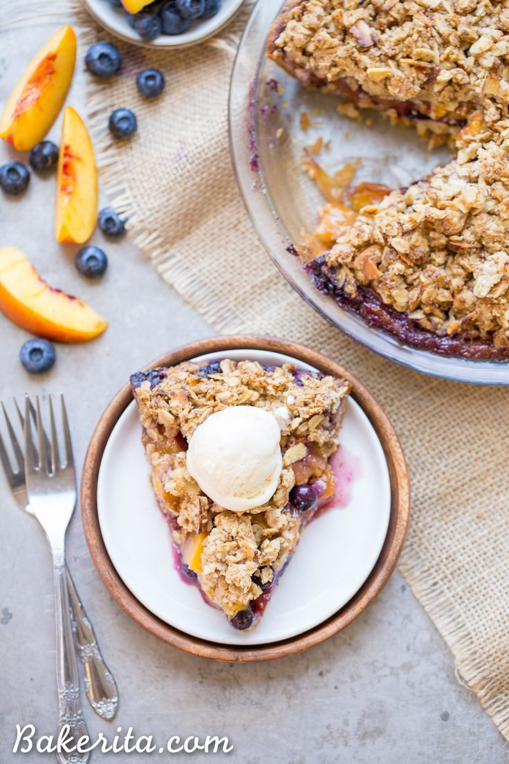 This Blueberry Nectarine Pie is the epitome of summer, and it has a delicious oatmeal almond crumble on top! This gluten free and refined sugar free pie is sure to be a favorite.