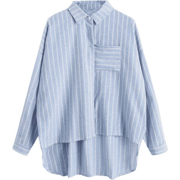 Striped High Low Pocket Shirt (1,945 INR) ❤ liked on Polyvore featuring tops, blouses, stripe blouse, blue stripe shirt, shirt blouse, pocket shirts and pocket blouse