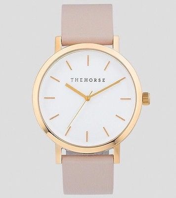 THE HORSE WATCH POLISHED STEEL WHITE ROSE GOLD DIAL BLUSH LEATHER - EXPRESS POST