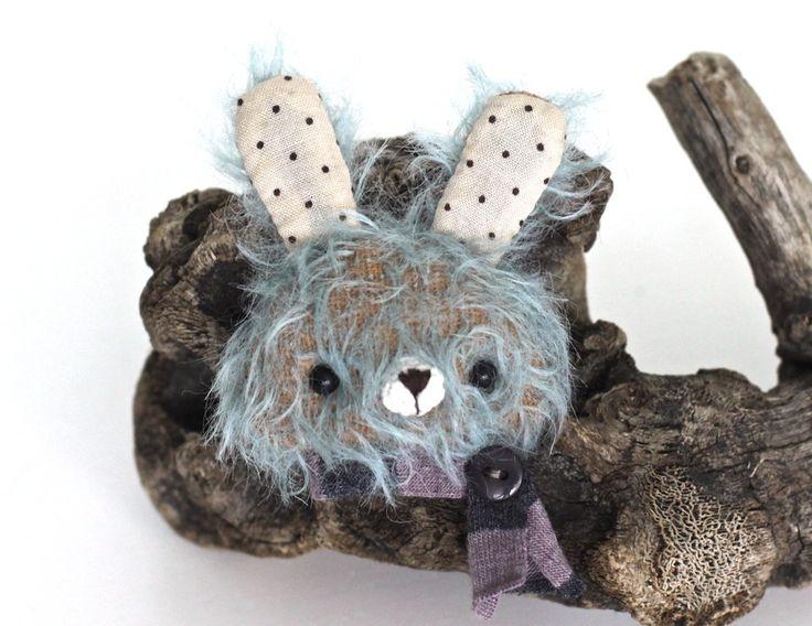 Rabbit teddy brooch animal totem hare mohair toys rabbit ooak teddy brooch toy teddy artist rabbit totem toys womens gift by KodamaLife on Etsy