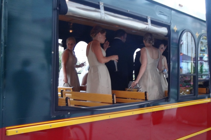 To complete the theme of the Roaring 20's, the bridal party at one of our recent weddings arrived in an old-style Chicago trolley. Fourth Estate Audio has dozens more creative ideas for your wedding here: http://www.discjockey.org/37.