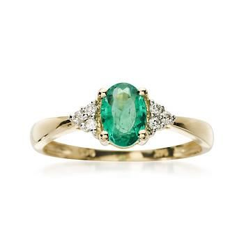 Ross-Simons - .60 Carat Emerald Ring With Diamond Accents in 14kt Yellow Gold - #552386