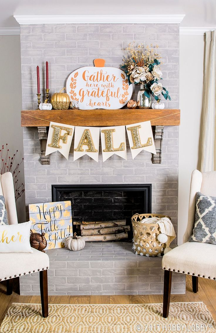 Welcome fall with beautiful decor!  To DIY banner: 1. Cut canvas into banner or pennant shapes. 2. Fold top of each banner or pennant shape down 1 inch and secure with hot glue. Be sure to leave enough space to thread rope through. 3. Hot glue letters to banner pieces.