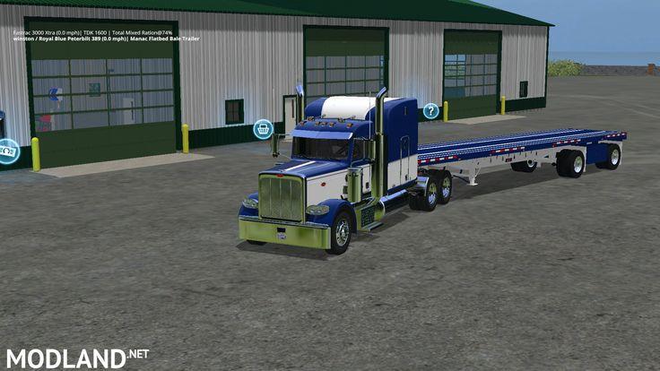 Peterbilt 388 Truck and Manic Flatbed Trailer mod Farming Simulator 17