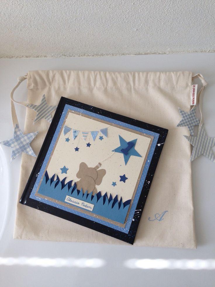 Per un 1^compleanno...con sacchetto in tela coordinato