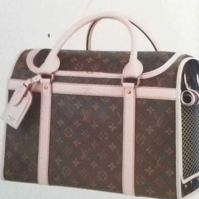 Louis Vuitton dog carrier.