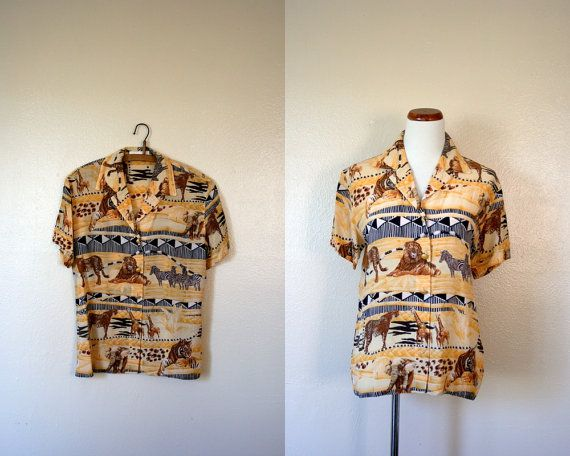 Vintage ESCADA Shirt / 80's Silk safari print #vintage #fashion #escada