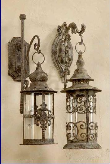 "Could maybe do this... take old wall hooks and old lanterns and give them a shabby ""stone"" makeover. Hmmm... gonna try it!"