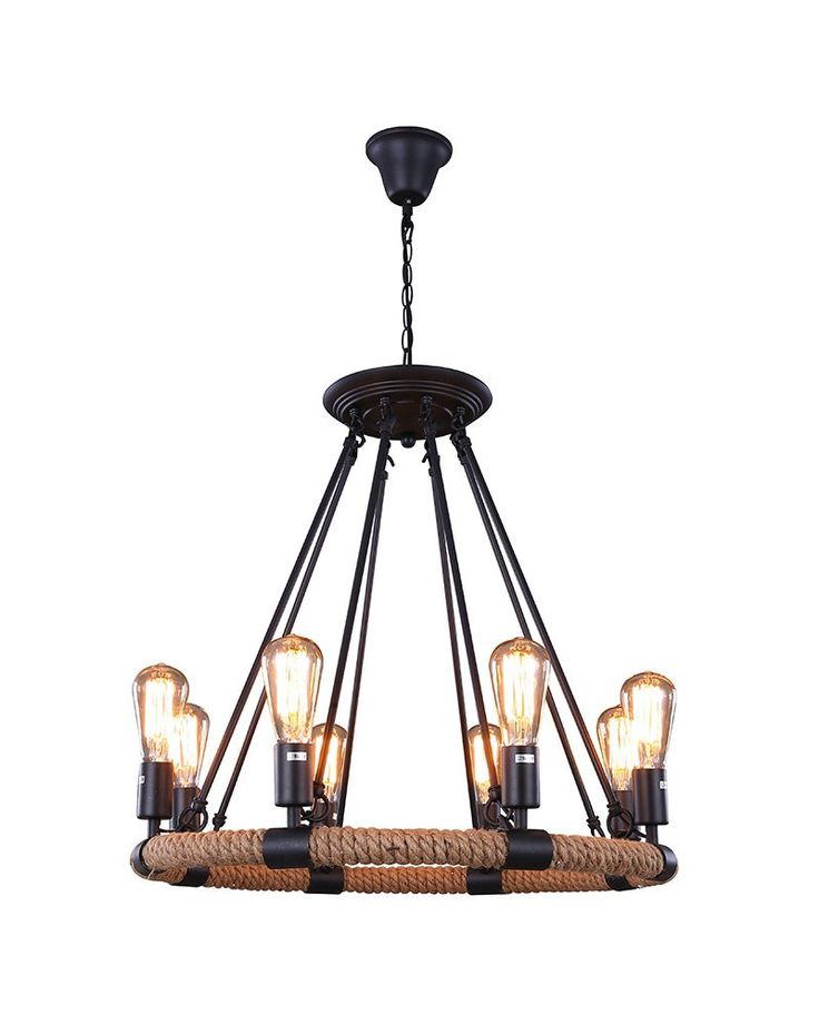 Renew The Look Of Your Room With This 8 Lights Rustic Style Hemp Rope Pendant Light