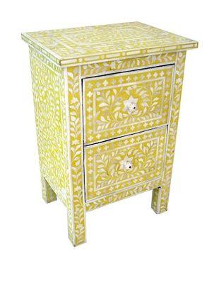 -58,800% OFF Mili Designs 2 Drawers Bone Inlay Bedside, Mustard/Cream